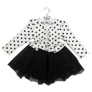 Haley Boutique Girls Black/White Cotton/Spandex Polka-dot Lace Tulle Tutu Dress