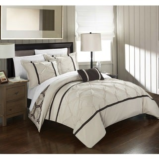 Chic Home 8-Piece Avee Bed-In-A-Bag Beige Comforter 8 Piece Set