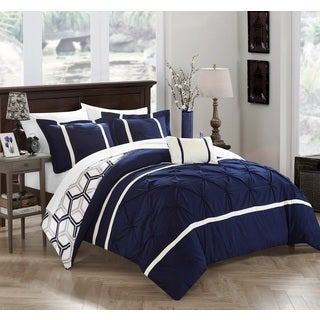 Strick & Bolton Josephine 8-piece Navy Bed in a Bag Comforter Set