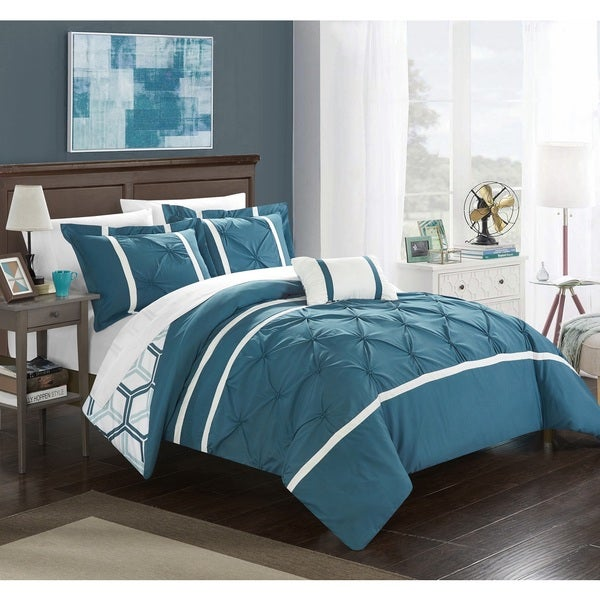 Chic Home 8-Piece Avee Bed-In-A-Bag Blue Comforter 8 Piece Set