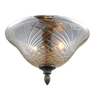 Golden Lighting Alston Place Steel Amber Glass Flush Mount Light