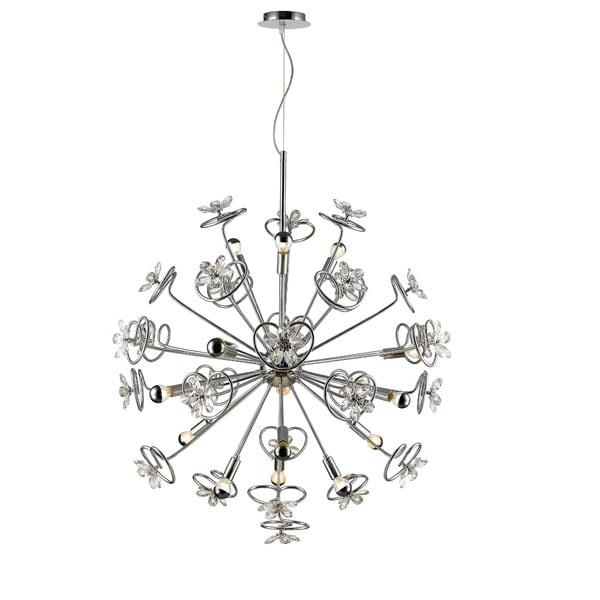 Golden Lighting C354-15-CH Iberlamp Chrome Steel Flora 15-light Pendant