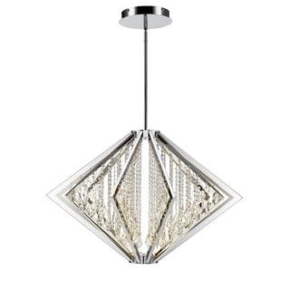 Iberlamp by Golden Lighting's Bezel Large LED Chrome Pendant