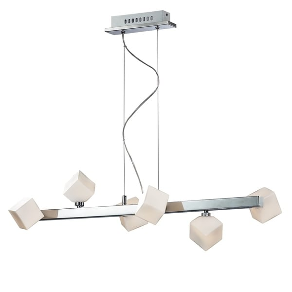Iberlamp by Golden Lighting's Volga Chrome-finished Steel 6-light Linear Pendant Fixture