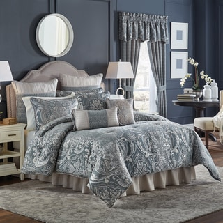 Croscill Gabrijel Damask Slate Blue 4 Piece Comforter Set