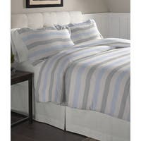 Pointehaven Savannah Stripe Cotton Flannel Oversized Duvet 3 Piece Set