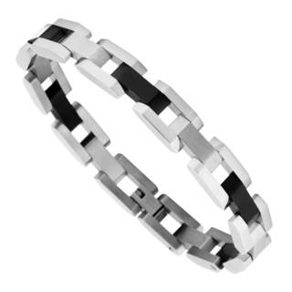 Men's Stainless Steel Bracelet with Black Plated Links