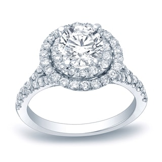 Auriya Platinum 1 1/4ct TDW Certified Double Halo Diamond Engagement Ring