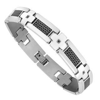 Men's Stainless Steel and Black Cubic Zirconia Bracelet