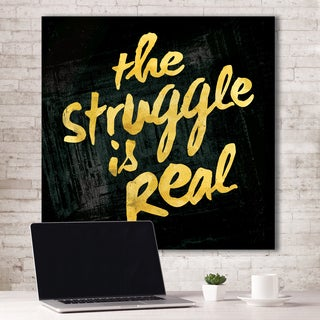Portfolio Canvas Decor IHD Studio 'The Struggle Is Real - Black' Canvas Print Stretched/Wrapped Ready-to-hang Wall Art