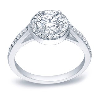 Auriya Platinum 1ct TDW Certified Diamond Halo Engagement Ring (H-I, SI1-SI2)