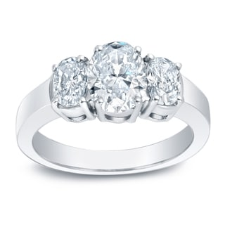 Auriya Platinum 2ct TDW Certified Oval-Cut Three-Stone Diamond Engagement Ring (I-J, VS1-VS2)