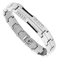 Men's Stainless Steel and Braided Wire Cubic Zirconia Bracelet