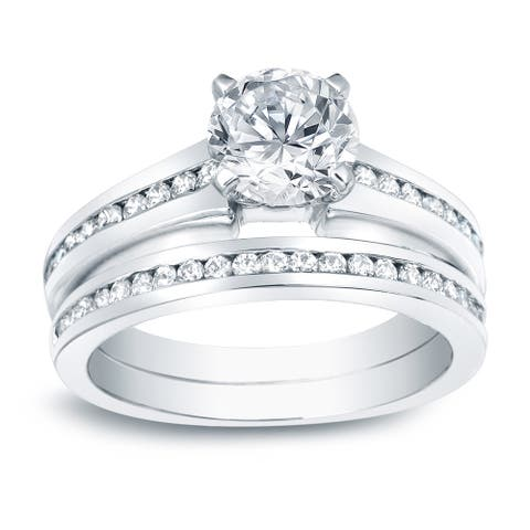 Auriya Platinum 1 1/2ctw Classic Round Diamond Engagement Ring Set Certified