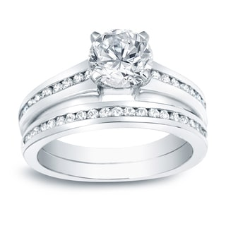 Auriya Platinum 1 1/2ct TDW Certified Round-Cut Diamond Bridal Ring Set (H-I, SI1-SI2)