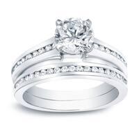 Auriya Platinum 1 1/2ct TDW Certified Round Solitaire Diamond Engagement Ring Set