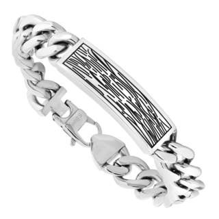 Men's Stainless Steel Wood-Grain-Look Bracelet