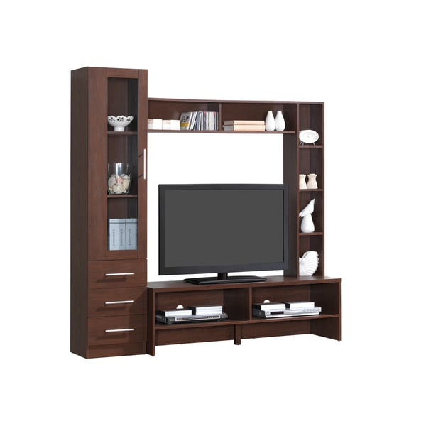 shop modern designs brown wood 50 inch tv open storage entertainment center free shipping. Black Bedroom Furniture Sets. Home Design Ideas