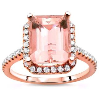Noori 14k Rose Gold Emerald-cut Morganite and 1/3ct TDW Diamond Engagement Ring (G-H, SI1-SI2)