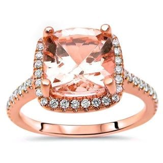 Noori 14k Rose Gold Morganite 1/4ct TDW Diamond Cushion-cut Engagement Ring (G-H, SI2-I2)