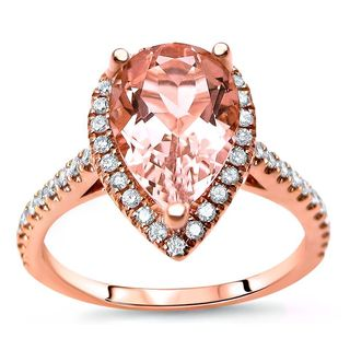 Noori Collection 14k Rose Gold Morganite 1/3ct TDW Diamond Engagement Ring (G-H, SI2-I2)