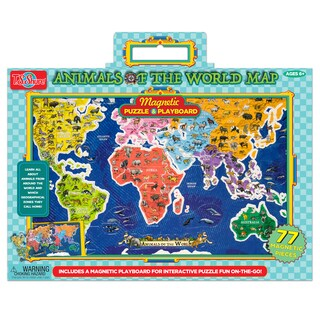 Animals of the World Map Magnetic Playboard and Puzzle