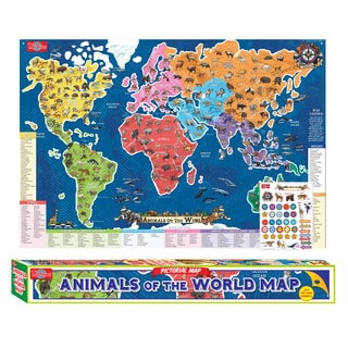 T.S. Shure Animals Of The World Map Pictorial Poster