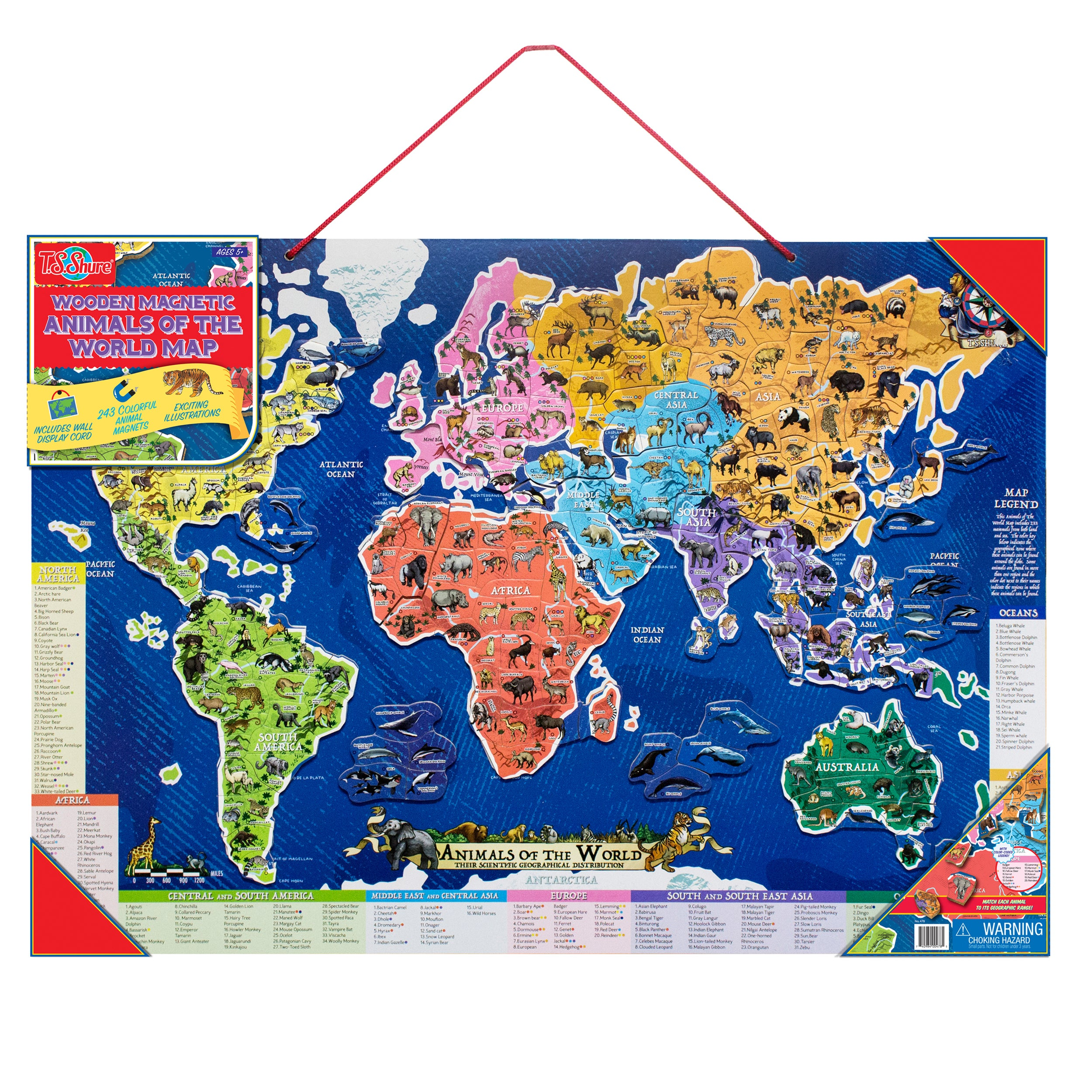 Ts shure wooden magnetic animals of the world map ebay ts shure wooden magnetic animals of the world map gumiabroncs Gallery