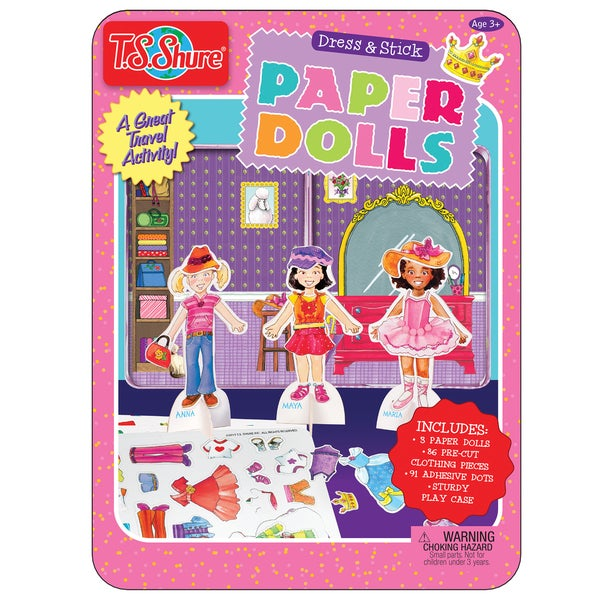 T.S. Shure Dress and Press Paper Dolls Creativity Tin