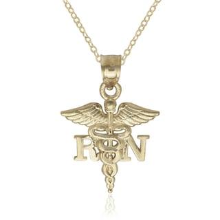 14K Yellow Gold Nurse Caduceus 16-inch Pendant Necklace