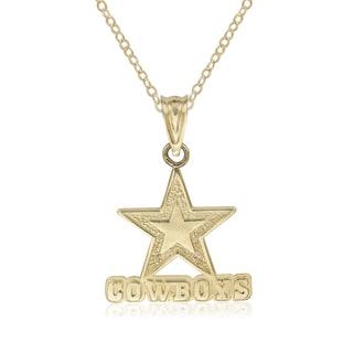 14k Yellow Gold 16 Inch Small Dallas Cowboys Logo Pendant