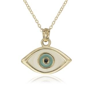 14k Yellow Gold 16-inch Enamel Evil Eye Pendant Necklace