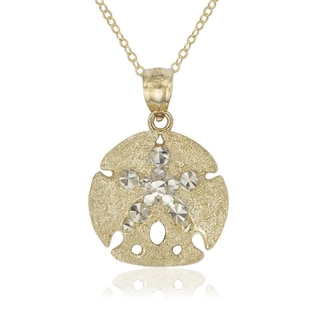 14k Two-tone Gold Sea Star Sand Dollar Charm Pendant and 16-inch Necklace