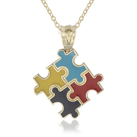 Autism Awareness Puzzle 14k Yellow Gold Enamel 16-inch Pendant Necklace
