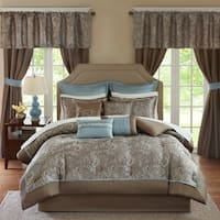 Madison Park Essentials Cadence Blue 24-Piece Queen Size Room in a Bag-Window Panels & Sheet Set Included (As Is Item)