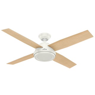 Hunter Fan Dempsey Collection 52-inch Fresh White with 4 Blonde Oak/Fresh White Reversible Blades (As Is Item)