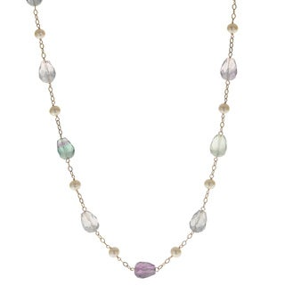 Pearls For You 14-karat Yellow Gold White Freshwater Pearl and Fluorite 17-inch Necklace