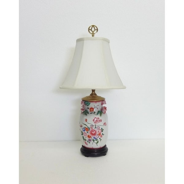 Carnation Garden White/Green/Pink Porcelain Table Lamp with Silk Shade