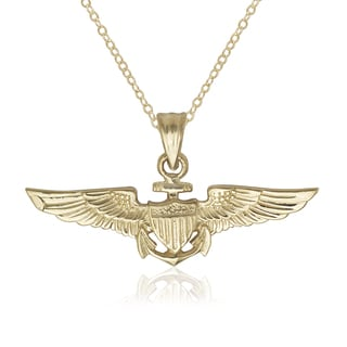 U.S. Air Force Pilot Wings 14k Yellow Gold 16-inch Pendant Necklace