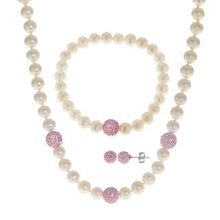 Pearls For You Sterling Silver White Freshwater Pearl and Pink Crystal Necklace, Bracelet and Earring 3-piece Set