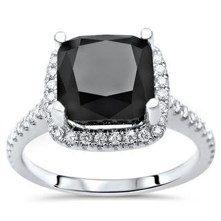 Noori 14k Gold 3 1/2ct TDW Black Cushion-cut Diamond Halo Engagement Ring (G-H, SI1-SI2)