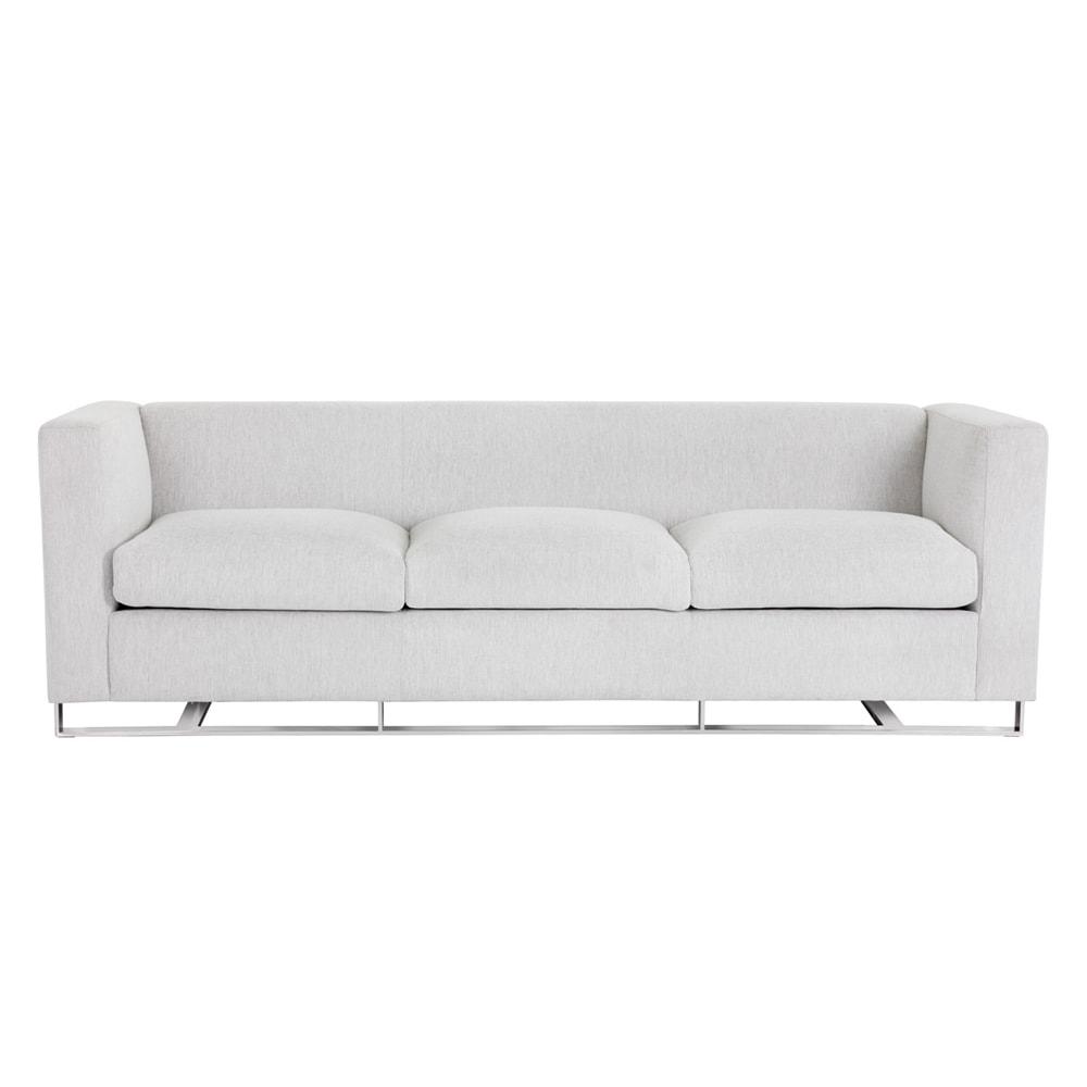 White Marble Fabric Keaton Modern Sofa