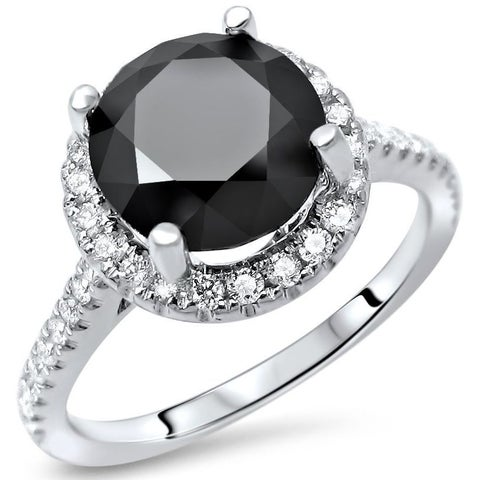Noori 14k White Gold 2 1/2ct TDW Black Round Diamond Halo Engagement Ring - White G-H
