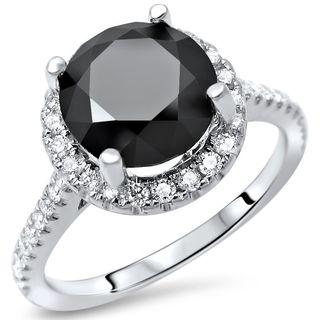 Noori 14k White Gold 2 1/2ct TDW Black Round Diamond Halo Engagement Ring - White G-H