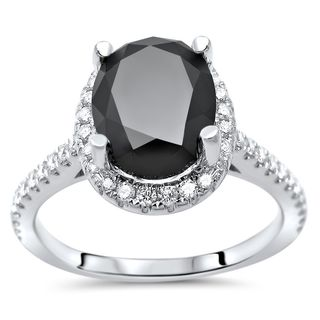 Noori 14k White Gold 2 1/2ct TDW Black Oval-cut Diamond Halo Engagement Ring