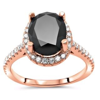 Noori 14k Rose Gold 2 1/2ct TDW Black Oval-cut Diamond Halo Engagement Ring (G-H, SI1-SI2)