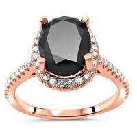 Noori 14k Rose Gold 2 1/2ct TDW Black Oval-cut Diamond Halo Engagement Ring - White G-H