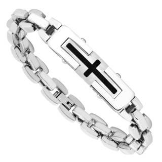 Men's Stainless Steel Cross Link Bracelet