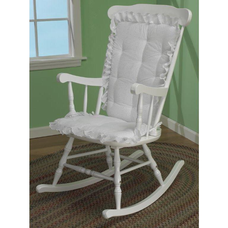 Baby Doll Eyelet Ruffled Rocking Chair Cushion (White) (C...