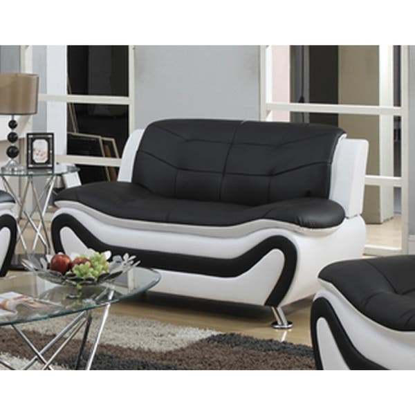 Pleasing Tiffany Faux Leather Contemporary Style Black And White Loveseat Caraccident5 Cool Chair Designs And Ideas Caraccident5Info